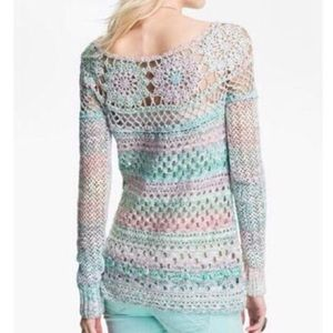 Free People Crochet Ring of Roses Open Knit Floral